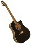 Kona K1BK K1 Series Dreadnought Cutaway Acoustic Guitar - Gloss Black