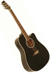 Kona K1EBK Dreadnought Cutaway Acoustic/Electric Guitar - Black