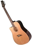 Kona K1EL Left Handed Cutaway Acoustic/Electric Guitar - Natural Gloss