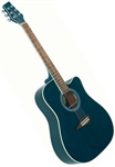 Kona K1TBL Dreadnought Cutaway Acoustic Guitar - Trans Blue