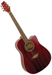Kona K1TRD Dreadnought Cutaway Acoustic Guitar - Transparent Red