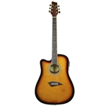 Kona K2 Series K2LTSB Left Handed Thin Body Acoustic/Electric Guitar - Sunburst