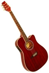 Kona K2 Series K2TRD Thin Body Acoustic/Electric Guitar - Red
