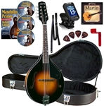 Kentucky KM-140 Mandolin Standard Solid Top A-Model Mandolin Case,Strings DVD Beginner Package