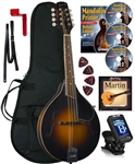 Kentucky KM-250 Artist A-Style Mandolin Pacakge All-Solid Sunburst with Bag, Strings, DVD, Tuner, Strap