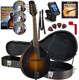 Kentucky KM-250 Artist A-Style Mandolin Pacakge All-Solid Sunburst with Case, Strings, DVD, Tuner, Strap