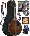 Kentucky KM-256 Artist A-Style Mandolin All-Solid Vintage Brown Nitro Finish with Bag,Strings DVD Beginner Package