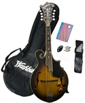 Washburn M3EK F-Style Acoustic/Electric Mandolin Package Starter Combo Pack with Bag,Strap,Picks,Tuner