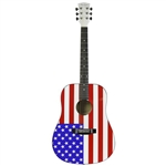 Main Street MAAF USA American Flag Dreadnought Acoustic Guitar Stars & Stripes