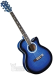Indiana Madison Cutaway Folk Body Acoustic/Electric Guitar - Quilt Blue MAD-QTBL