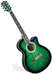 Indiana Madison Cutaway Folk Body Acoustic/Electric Guitar - Quilt Green MAD-QTGR