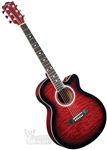 Indiana Madison Cutaway Folk Body Acoustic/Electric Guitar - Quilt Red MAD-QTRD