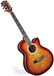 Indiana Madison Cutaway Folk Body Acoustic/Electric Guitar - Quilt Tobacco MAD-QTTB