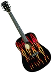 Main Street Hot Rod Flames Dreadnought Acoustic Guitar