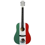 Main Street Mexican Flag Mexico Dreadnought Acoustic Guitar
