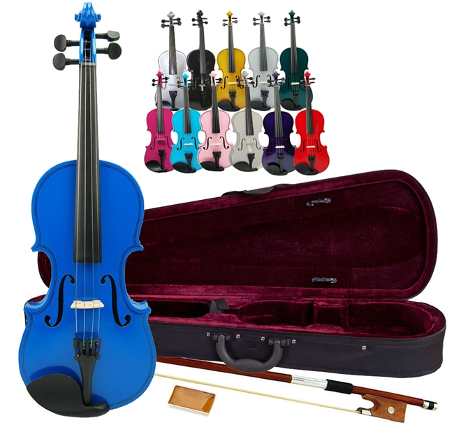 1//4, Light Pink Rosin and Extra Strings Bow Merano MV100 Student Violin with Hard Case