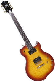 Minarik Lotus Single Cutaway Electric Guitar with Quilted Top-Tobacco Burst