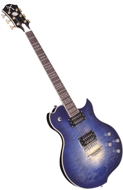 Minarik Lotus Single Cutaway Electric Guitar with Quilted Top - Ocean Burst