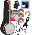 Oscar Schmidt OB5SP Spalted Maple Resonator Banjo 5 String Bluegrass Banjo Package Combo Kit