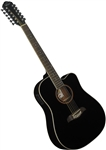 Oscar Schmidt OD312CE 12-String Cutaway Acoustic Electric Guitar OD312CEB - Black