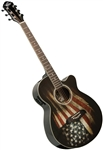 Oscar Schmidt OG10CEFLAG US, American Patriot Flag Acoustic/Electric Concert Cutaway Guitar