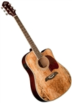 Oscar Schmidt OG2CESM Spalted Maple Top Dreadnought Cutaway Acoustic/Electric Guitar