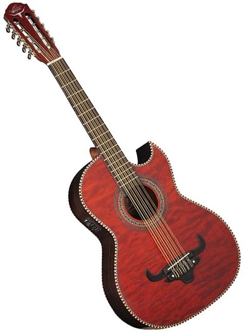 Oscar Schmidt OH32SEQTR Bajo Quinto 10 string Latin Acoustic Electric Guitar Red