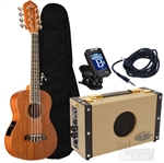 Oscar Schmidt OU28TE Eight String Acoustic-Electric Tenor Satin Mahogany 8-String Ukulele Uke Package