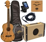 Oscar Schmidt OU7TE Spalted Mango Tenor Acoustic/Electric Ukulele Amp Package