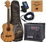 Oscar Schmidt OU7TE Spalted Mango Tenor Acoustic/Electric Ukulele Joyo Amp Package