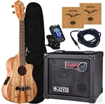 Oscar Schmidt OU8TLCE Spalted Maple Tenor Acoustic/Electric Ukulele Joyo Amp Package Complete Bundle