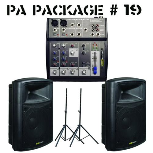 SHS Audio PA in a Box Pro Audio Package - 6-Channel Mixer, Cabinets, Stands  Combo