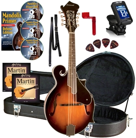 Savannah SF-100 F-Model Mandolin Package - Strings,Strap,Stand,Picks,Tuner,Case,DVD