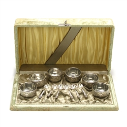 Renaissance by Reed & Barton, Silverplate Salt Spoon & Dish, Set of 6 w/ Original Box