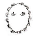 Necklace & Earrings Set by Danecraft, Sterling Scroll Design