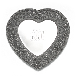 Vanity Tray, Sterling Heart Shape, Monogram ETH