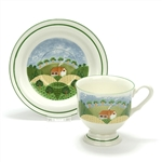 Country Cottage by Sango, Earthenware Cup & Saucer, Footed