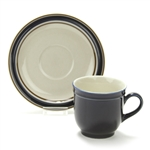 Cup & Saucer by Regency, Stoneware, Navy Blue