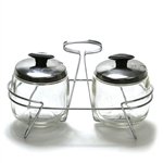 Condiment Jars & Stand by Foley, Stainless
