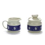 Cream Pitcher & Sugar Bowl, Stoneware, When It Rains It Pours