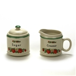 Cream Pitcher & Sugar Bowl by Japan, Stoneware, Strawberries