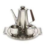 Di Lido by International, Stainless 4-PC Coffee Service w/ Trayw/ Tray, Floral Design