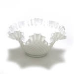 Hobnail Milk Glass by Fenton, Glass Bowl, Crimped