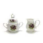 Cream & Sugar, China, Purple Pansies