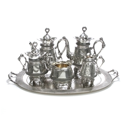 6-PC Tea & Coffee Service w/ Tray by Derby Silver Co., Silverplate, Victorian