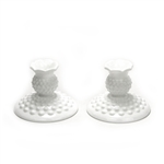 Hobnail Milk Glass by Fenton, Glass Candlestick Pair