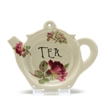 Tea Bag Holder by Crownford Giftware Corp., Ceramic, Pink & White Roses