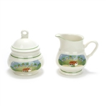 Country Cottage by Sango, Earthenware Cream Pitcher & Sugar Bowl