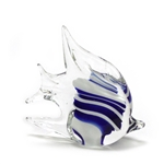 Figurine, Glass, Blue & White Striped