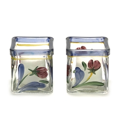Poppies On Blue by Lenox, Glass Votive, Pair